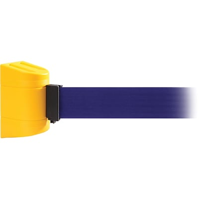 WallPro 300 Yellow Wall Mount Belt Barrier with 10 Blue Belt