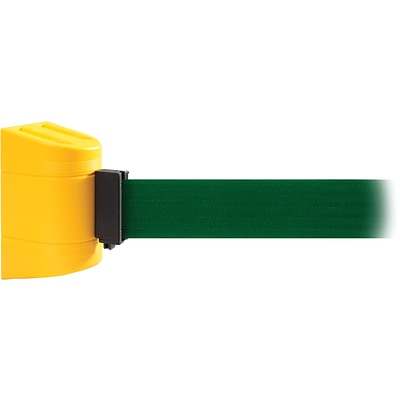 WallPro 300 Yellow Wall Mount Belt Barrier with 13 Green Belt