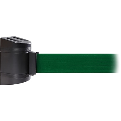 WallPro 450 Black Wall Mount Belt Barrier with 30 Green Belt