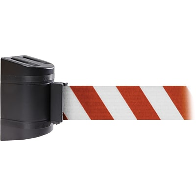 WallPro 450 Black Wall Mount Belt Barrier with 30 Red/White Belt