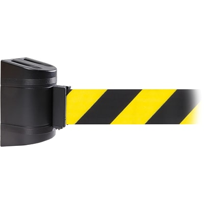 WallPro 450 Black Wall Mount Belt Barrier with 30 Yellow/Black Belt