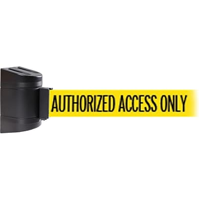 WallPro 450 Black Wall Mount Belt Barrier with 15 Yellow/Black AUTHORIZED Belt