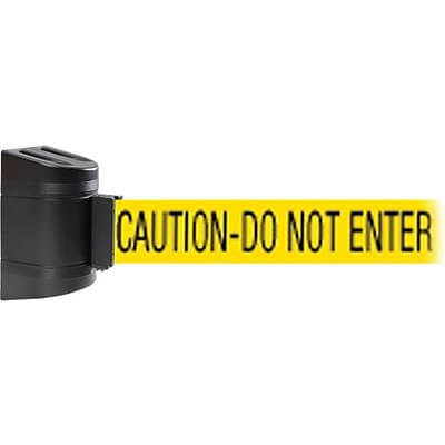 WallPro 450 Black Wall Mount Belt Barrier with 20 Yellow/Black CAUTION Belt