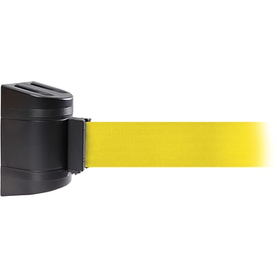 WallPro 450 Black Wall Mount Belt Barrier with 15 Yellow Belt