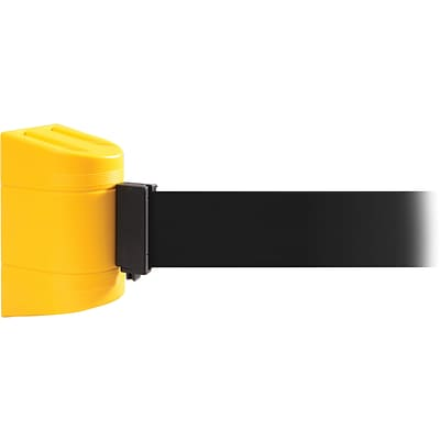 WallPro 450 Yellow Wall Mount Belt Barrier with 15 Black Belt