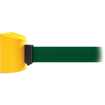 WallPro 450 Yellow Wall Mount Belt Barrier with 20 Green Belt