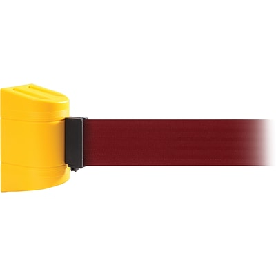 WallPro 450 Yellow Wall Mount Belt Barrier with 20 Maroon Belt