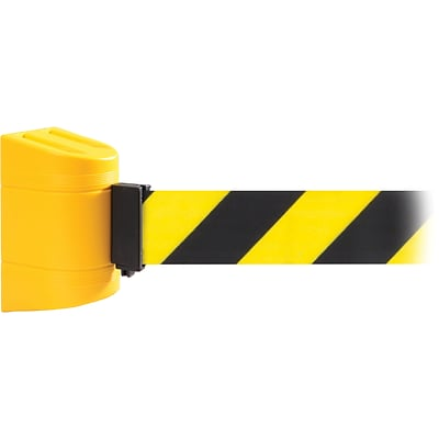WallPro 450 Yellow Wall Mount Belt Barrier with 20 Yellow/Black Belt