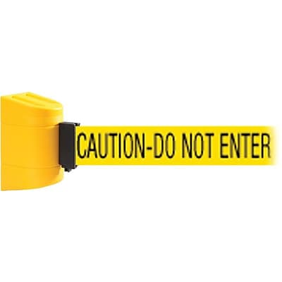 WallPro 450 Yellow Wall Mount Belt Barrier with 30 Yellow/Black CAUTION Belt