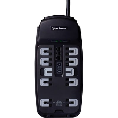 Cyberpower® CSP1008T 10-Outlet 2850 Joule Professional Surge Protector With 8 Cord