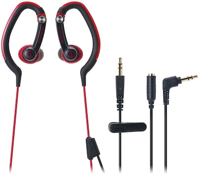 Audio Technica ATH CKP200RD Mini Stereo SonicSport In Ear Headphone, Red (ATH CKP200RD)
