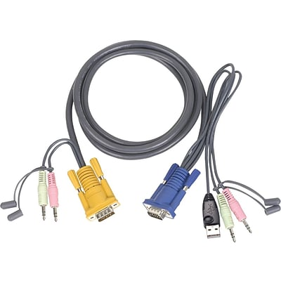 Iogear® Micro-Lite™ G2L5303U Bonded All-in-One USB KVM Cable; 10(L)