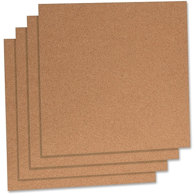 Lorell Natural Cork Panels, Brown, 12x12, 4/Pack