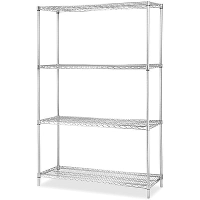Lorell Industrial Wire Shelving Add-on Unit, Chrome, 36 x 24