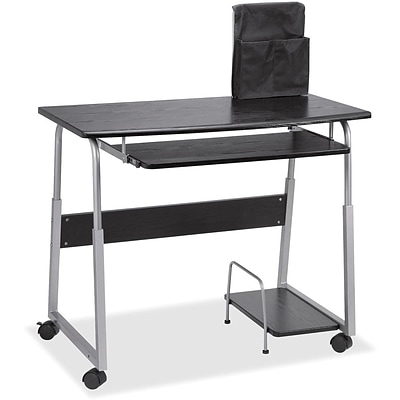 Lorell Mobile Computer Desk, Black/Silver