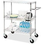 Lorell 3-Tier Rolling Carts, Chrome
