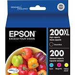 Epson® 200XL/200 Black High Yield & Standard Color C/M/Y Ink Cartridges (T200XL-BCS), Multi-pack (4