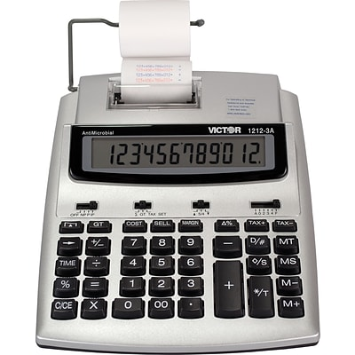 Victor® 1212-3A Commercial 12-Digit Printing Calculator, With Built-In Anti-Microbial Protection