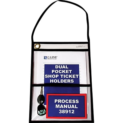 C-line Stitched Dual Pocket Shop Ticket Holder with Hanging Strap, Clear, 9 x 12, 15/Pk