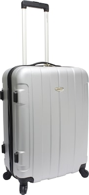 "Traveler's Choice® TC3900 Rome 25"" Hard-Shell Spinner Upright Luggage Suitcase, Silver"