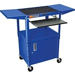 Luxor® Steel Adjustable Height AV Cart W/Pullout, Cabinet, Drop Leaf Shelves, Royal Blue