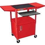 Luxor® Steel Adjustable Height AV Cart W/Pullout, Cabinet, Drop Leaf Shelves, Red