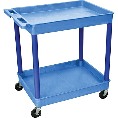 Luxor® TC Series 37 1/4(H) 2 Shelves Large Tub Cart, Blue