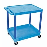 Luxor® TC Series 35 3/4(H) 2 Shelves Large Flat Top & Tub Bottom Shelf Cart, Blue