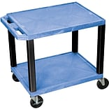 H Wilson® 26(H) 2 Shelves Tuffy AV Carts W/Electrical Attachment, Blue