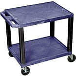 H Wilson® 26(H) 2 Shelves Tuffy AV Carts W/Electrical Attachment, Navy