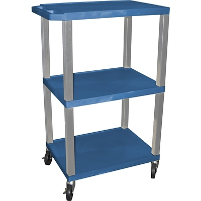 H Wilson® 42 1/2(H) 3 Shelves Tuffy AV Carts W/Nickel Legs & Electrical Attachment, Blue