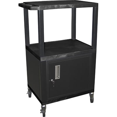 H Wilson® 42 1/2(H) 3 Shelves Tuffy AV Carts W/Cabinet & Electrical Attachment, Black