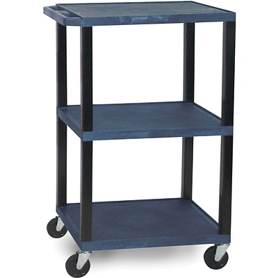 H Wilson® 42 1/2(H) 3 Shelves Tuffy AV Carts W/Black Legs & Electrical Attachment, Navy