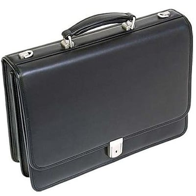 McKlein I Series, BUCKTOWN, Full Grain Cashmere Napa Leather,Double Compartment Laptop Briefcase, Black (43545)