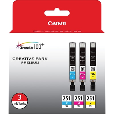 Canon CLI 251XL 3 Color Combination Ink Cartridges, High Yield, 3/Pack (6449B009)