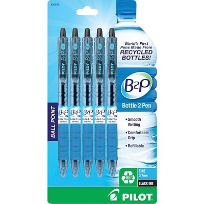 Pilot B2P Bottle-2-Pen Retractable Ballpoint Pens, Fine Point (0.7mm), Black, 5/Pk (32612)