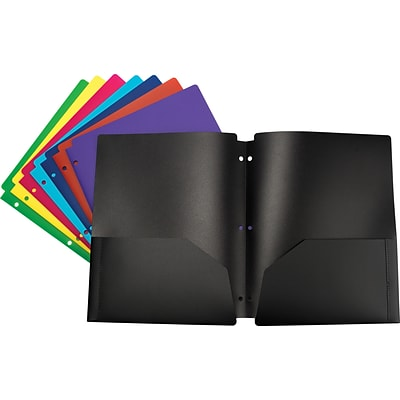 Storex Eco-Friendly Two-Pocket Folder, 100% Recycled, Assorted Colors (50295E50S)