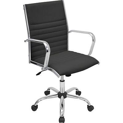 Lumisource Master Leatherette Mid Back Office Chair, Black