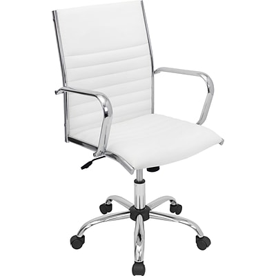 LumiSource Leatherette Office Chair, Fixed Arms, White