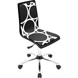 Lumisource PVC Foam Mid Back Printed Computer Chair, Black, Circles