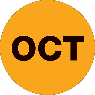 Tape Logic™ 2 Circle OCT Months of the Year Label, Fluorescent Orange, 500/Roll