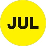 Tape Logic™ 2 Circle JUL Months of the Year Label, Fluorescent Yellow, 500/Roll