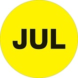 Tape Logic™ 1 Circle JUL Month of the Year Labels, Fluorescent Yellow, 500/Roll