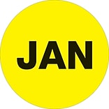 Tape Logic™ 1 Circle JAN Month of the Year Labels, Fluorescent Yellow, 500/Roll