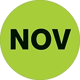 Tape Logic™ 2 Circle NOV Months of the Year Label, Fluorescent Green, 500/Roll