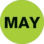 Tape Logic™ 2 Circle MAY Months of the Year Label, Fluorescent Green, 500/Roll