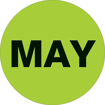 Tape Logic™ 1 Circle MAY Month of the Year Labels, Fluorescent Green, 500/Roll