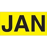 Tape Logic™ 6 x 3 Rectangle JAN Months of the Year Label, Fluorescent Yellow, 500/Roll