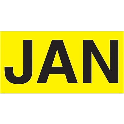 Tape Logic™ 3 x 2 Rectangle JAN Months of the Year Label, Fluorescent Yellow, 500/Roll