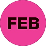 Tape Logic™ 2 Circle FEB Months of the Year Label, Fluorescent Pink, 500/Roll